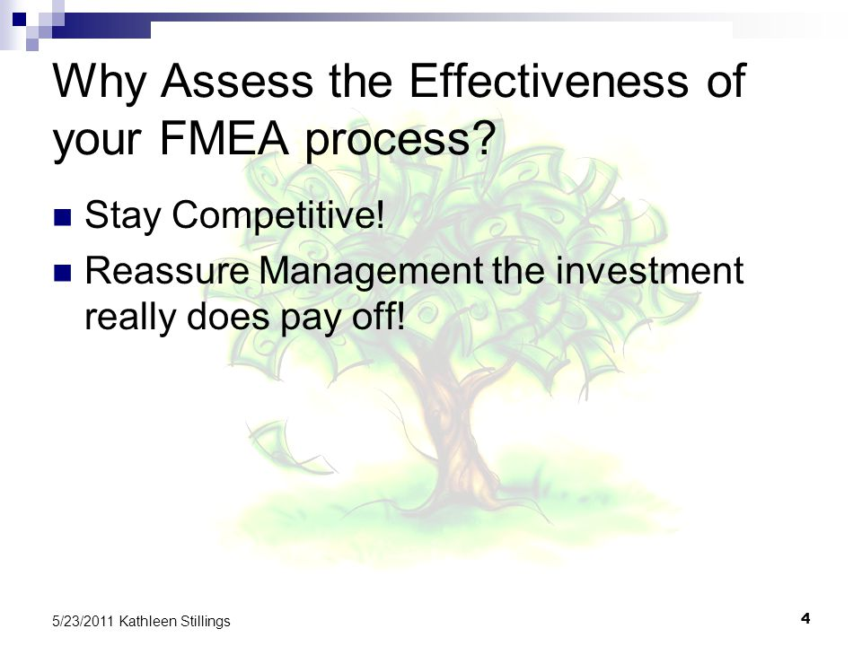 4 5/23/2011 Kathleen Stillings Why Assess the Effectiveness of your FMEA process.