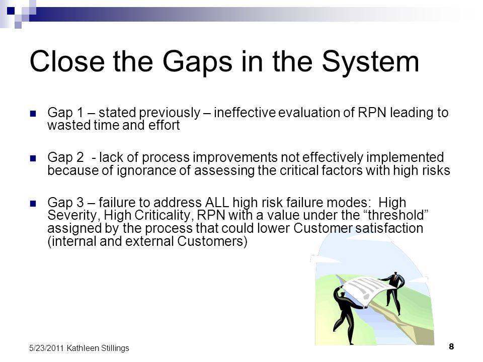 8 5/23/2011 Kathleen Stillings Close the Gaps in the System Gap 1 – stated previously – ineffective evaluation of RPN leading to wasted time and effort Gap 2 - lack of process improvements not effectively implemented because of ignorance of assessing the critical factors with high risks Gap 3 – failure to address ALL high risk failure modes: High Severity, High Criticality, RPN with a value under the threshold assigned by the process that could lower Customer satisfaction (internal and external Customers)