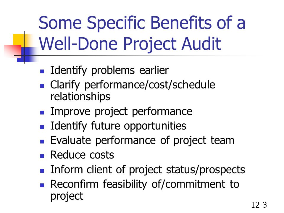12-3 Some Specific Benefits of a Well-Done Project Audit Identify problems earlier Clarify performance/cost/schedule relationships Improve project per