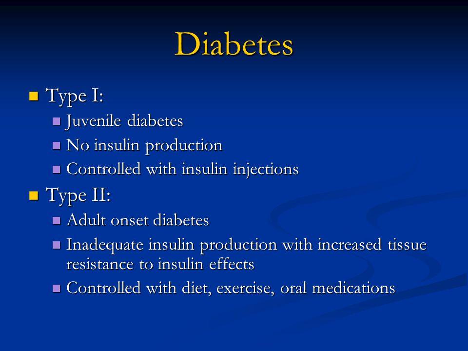 Diabetes Type I: Type I: Juvenile diabetes Juvenile diabetes No insulin production No insulin production Controlled with insulin injections Controlled