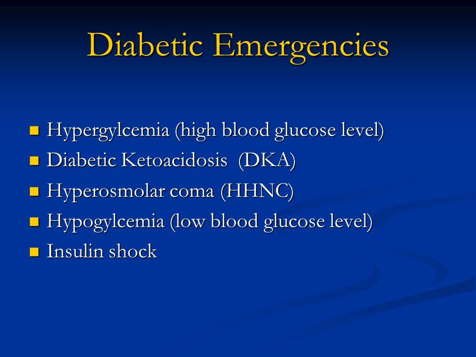 Diabetic Emergencies Hypergylcemia (high blood glucose level) Hypergylcemia (high blood glucose level) Diabetic Ketoacidosis (DKA) Diabetic Ketoacidosis (DKA) Hyperosmolar coma (HHNC) Hyperosmolar coma (HHNC) Hypogylcemia (low blood glucose level) Hypogylcemia (low blood glucose level) Insulin shock Insulin shock
