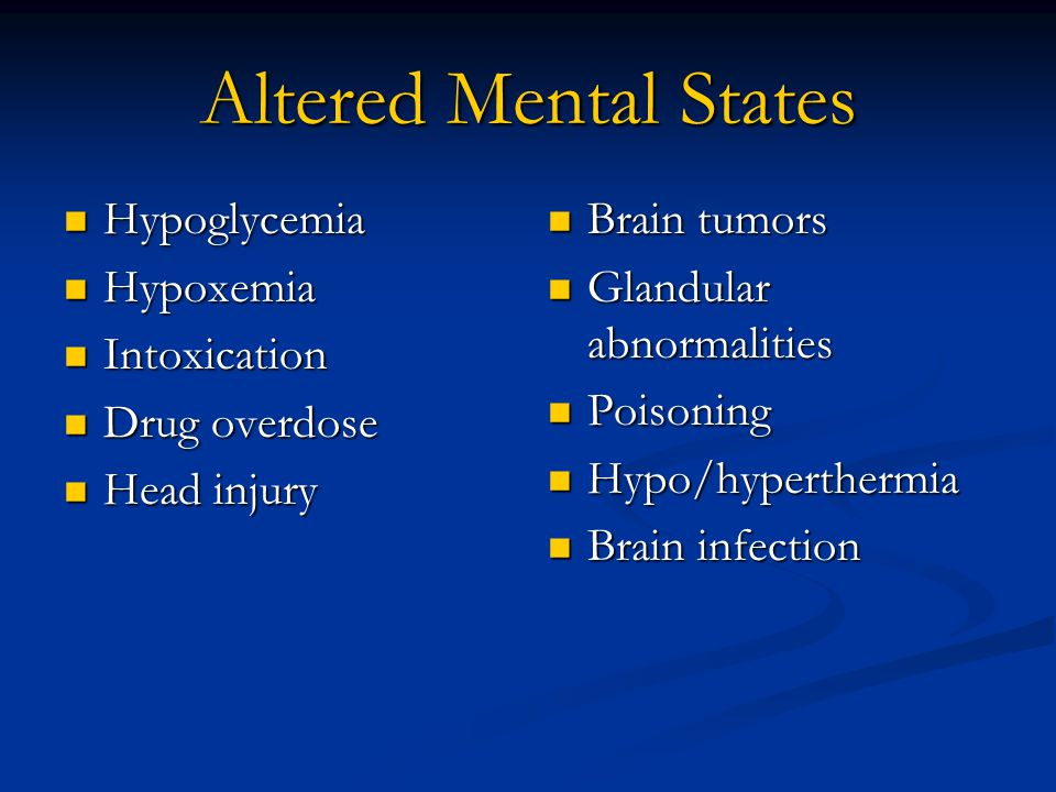Physical Exam Mental status/level of consciousness Airway management (ability to swallow?) Baseline vital signs Blood glucometry