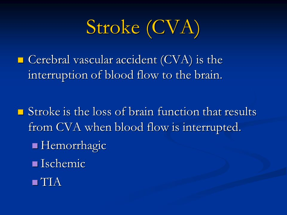 Hemorrhagic Stroke Results from vessel rupture on the surface or within the brain.