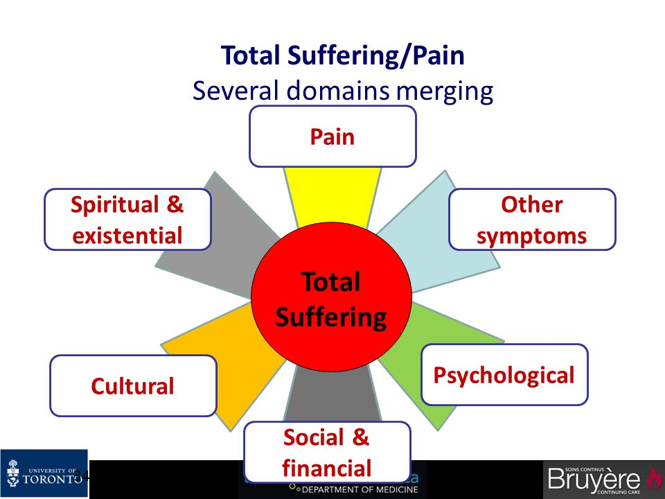 34 Total Suffering Total Suffering/Pain Several domains merging Other symptoms Pain Spiritual & existential Cultural Social & financial Psychological