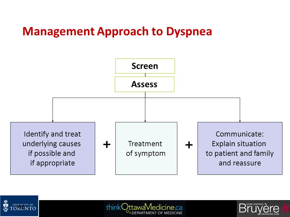 48 Management Approach to Dyspnea Screen Identify and treat underlying causes if possible and if appropriate Treatment of symptom Communicate: Explain