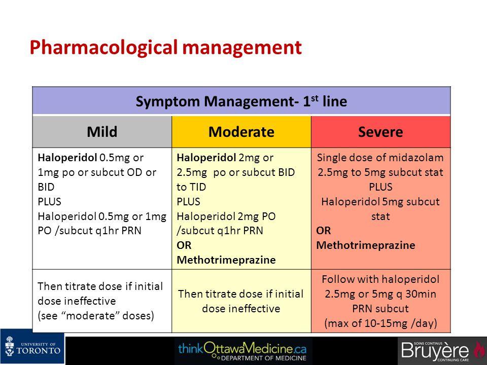 Pharmacological management Symptom Management- 1 st line MildModerateSevere Haloperidol 0.5mg or 1mg po or subcut OD or BID PLUS Haloperidol 0.5mg or