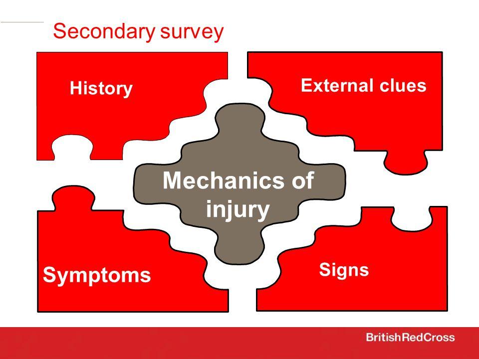 Secondary survey History Symptoms Signs External clues Mechanics of injury