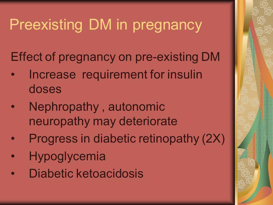 Preexisting DM In Pregnancy Effect of preexisting DM on pregnancy (1)Maternal 1.