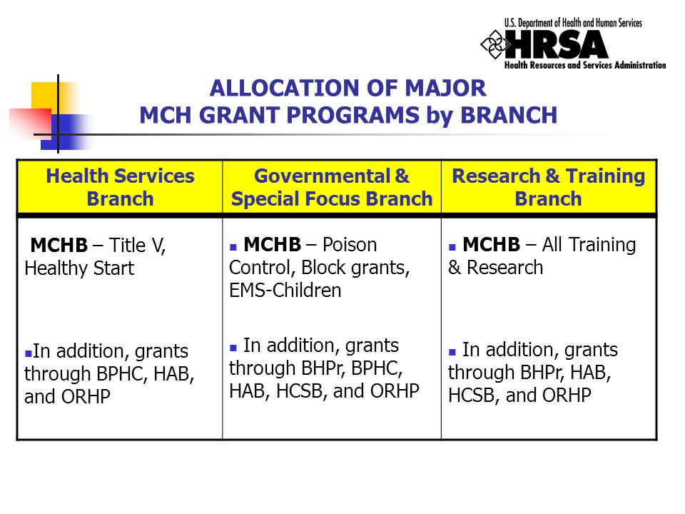 ALLOCATION OF MAJOR MCH GRANT PROGRAMS by BRANCH Health Services Branch Governmental & Special Focus Branch Research & Training Branch MCHB – Title V,