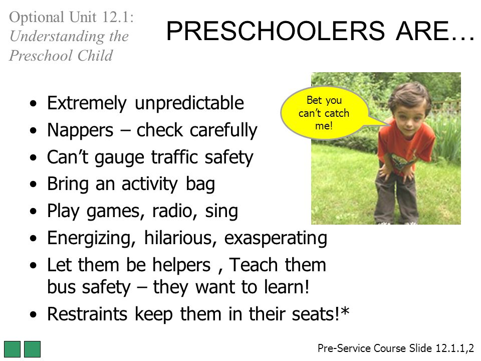 PRESCHOOLERS ARE… Extremely unpredictable Nappers – check carefully Can't gauge traffic safety Bring an activity bag Play games, radio, sing Energizing, hilarious, exasperating Let them be helpers, Teach them bus safety – they want to learn.