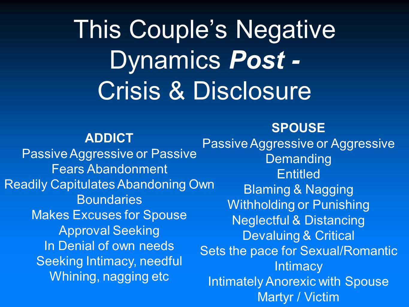 This Couple's Negative Dynamics Post - Crisis & Disclosure SPOUSE Passive Aggressive or Aggressive Demanding Entitled Blaming & Nagging Withholding or