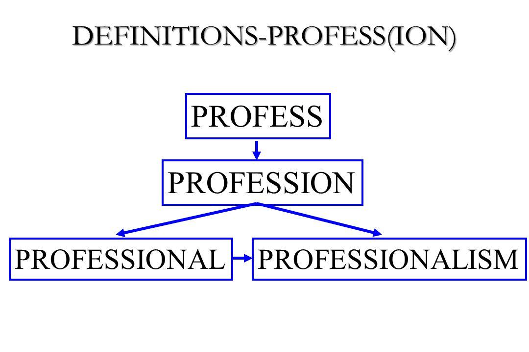 PROFESSION PROFESS PROFESSIONALPROFESSIONALISM DEFINITIONS-PROFESS(ION)