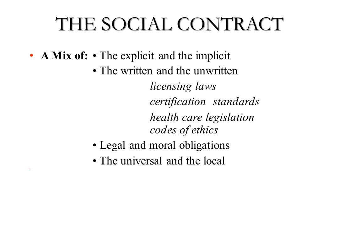 A Mix of: The explicit and the implicit The written and the unwritten licensing laws certification standards health care legislation codes of ethics L