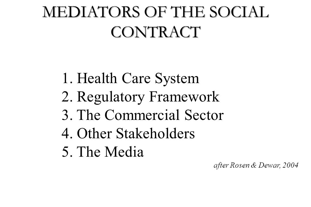1. Health Care System 2. Regulatory Framework 3. The Commercial Sector 4. Other Stakeholders 5. The Media after Rosen & Dewar, 2004 MEDIATORS OF THE S