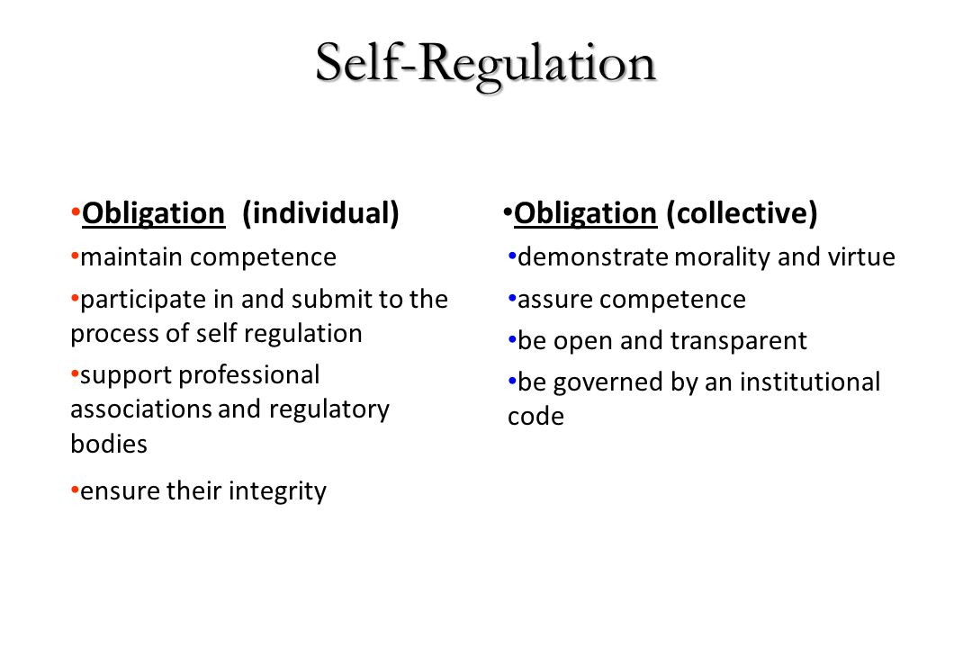 Self-Regulation Obligation (individual) maintain competence participate in and submit to the process of self regulation support professional associati