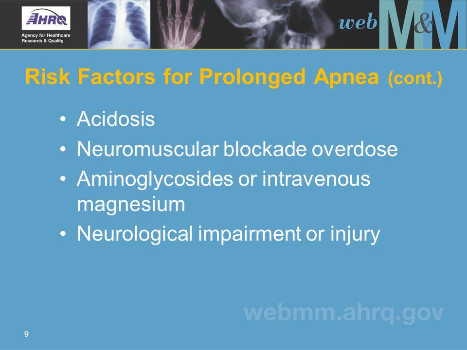 9 Risk Factors for Prolonged Apnea (cont.) Acidosis Neuromuscular blockade overdose Aminoglycosides or intravenous magnesium Neurological impairment or injury