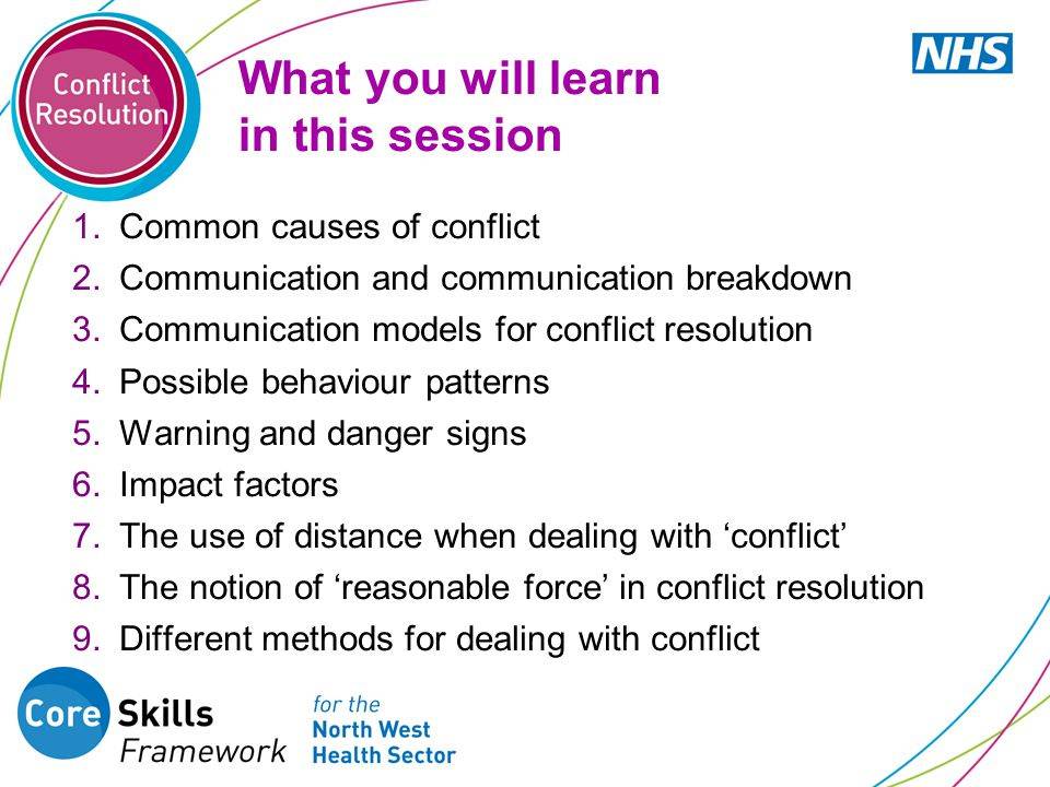 What you will learn in this session 1.Common causes of conflict 2.Communication and communication breakdown 3.Communication models for conflict resolution 4.Possible behaviour patterns 5.Warning and danger signs 6.Impact factors 7.The use of distance when dealing with 'conflict' 8.The notion of 'reasonable force' in conflict resolution 9.Different methods for dealing with conflict