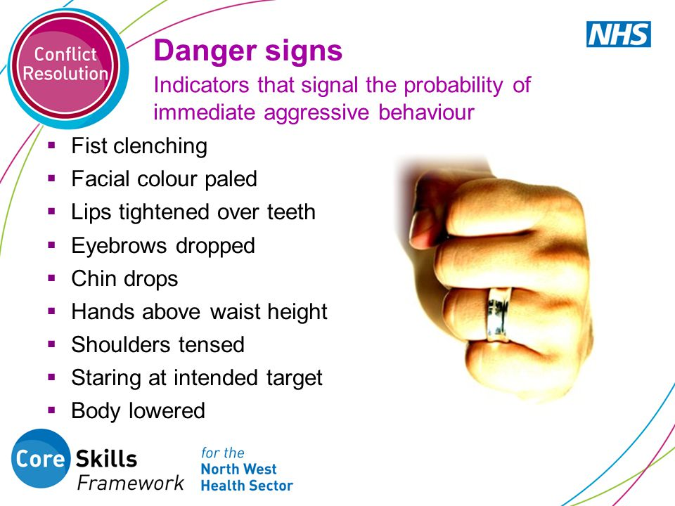Danger signs  Fist clenching  Facial colour paled  Lips tightened over teeth  Eyebrows dropped  Chin drops  Hands above waist height  Shoulders tensed  Staring at intended target  Body lowered Indicators that signal the probability of immediate aggressive behaviour