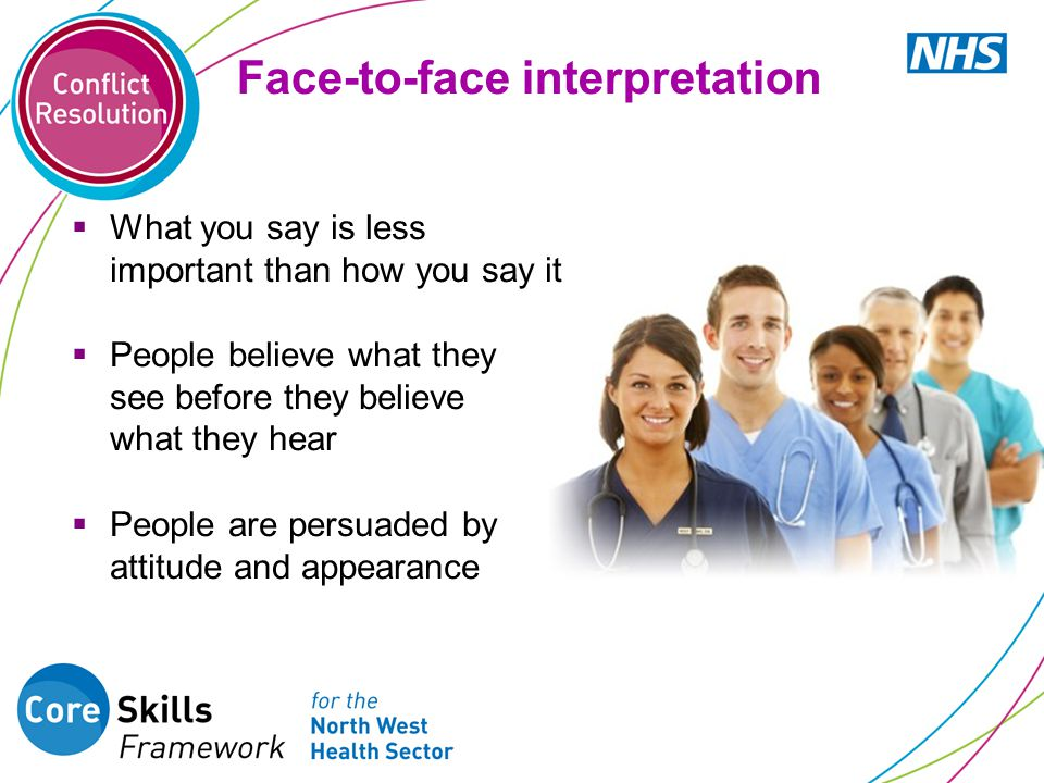 Face-to-face interpretation  What you say is less important than how you say it  People believe what they see before they believe what they hear  P