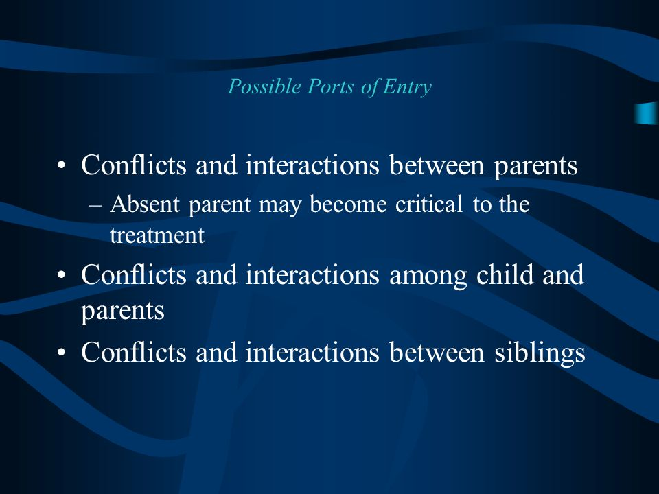 Conflicts and interactions between parents –Absent parent may become critical to the treatment Conflicts and interactions among child and parents Conflicts and interactions between siblings Possible Ports of Entry