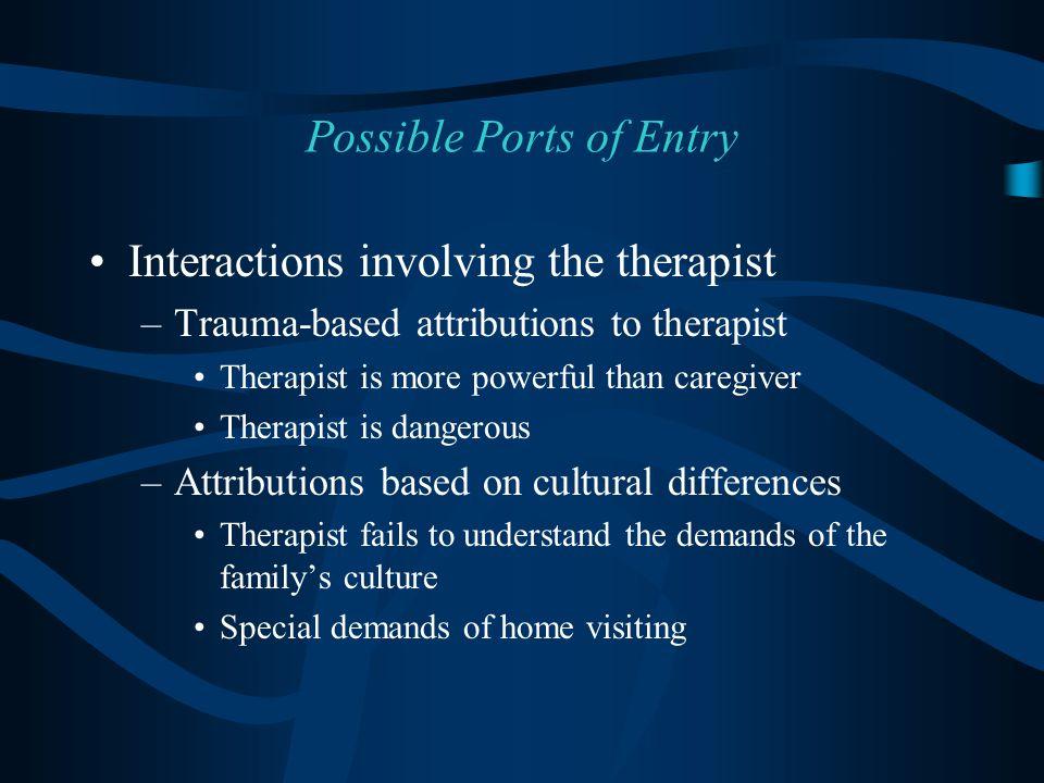 Interactions involving the therapist –Trauma-based attributions to therapist Therapist is more powerful than caregiver Therapist is dangerous –Attribu