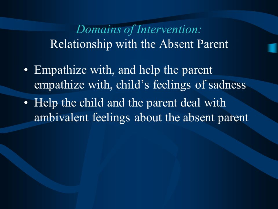 Empathize with, and help the parent empathize with, child's feelings of sadness Help the child and the parent deal with ambivalent feelings about the absent parent Domains of Intervention: Relationship with the Absent Parent