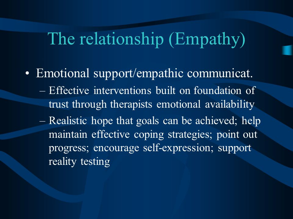The relationship (Empathy) Emotional support/empathic communicat.
