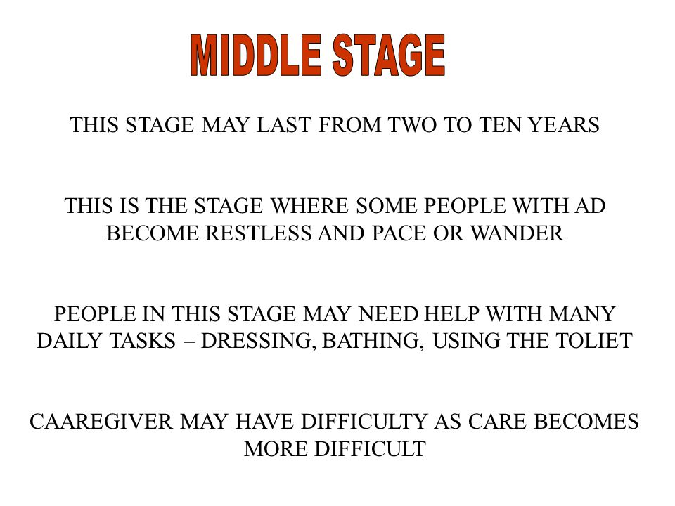 THIS STAGE MAY LAST FROM TWO TO TEN YEARS THIS IS THE STAGE WHERE SOME PEOPLE WITH AD BECOME RESTLESS AND PACE OR WANDER PEOPLE IN THIS STAGE MAY NEED HELP WITH MANY DAILY TASKS – DRESSING, BATHING, USING THE TOLIET CAAREGIVER MAY HAVE DIFFICULTY AS CARE BECOMES MORE DIFFICULT