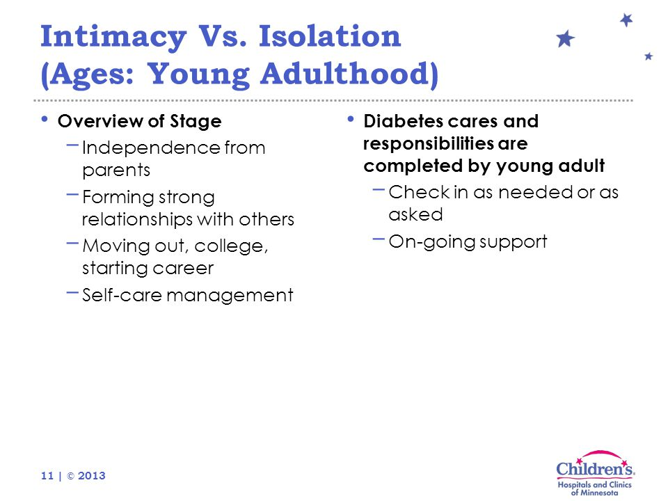 11 | © 2013 Intimacy Vs. Isolation (Ages: Young Adulthood) Overview of Stage − Independence from parents − Forming strong relationships with others −