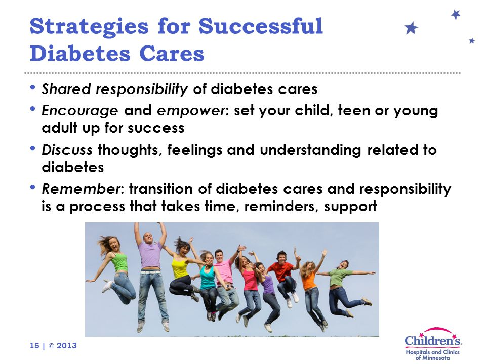 15 | © 2013 Strategies for Successful Diabetes Cares Shared responsibility of diabetes cares Encourage and empower : set your child, teen or young adu