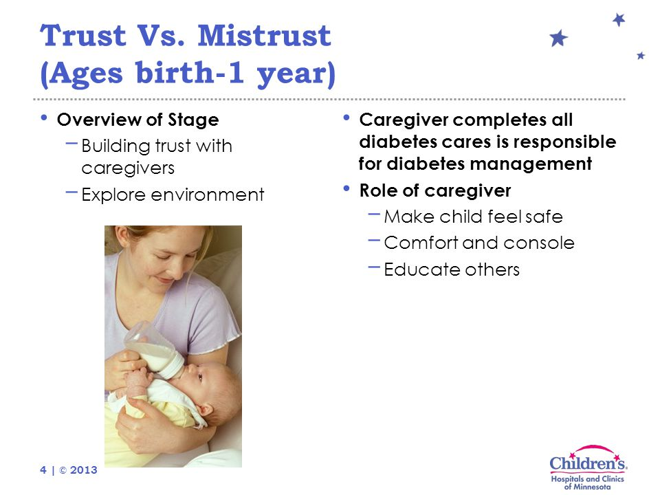 4 | © 2013 Trust Vs. Mistrust (Ages birth-1 year) Overview of Stage − Building trust with caregivers − Explore environment Caregiver completes all dia