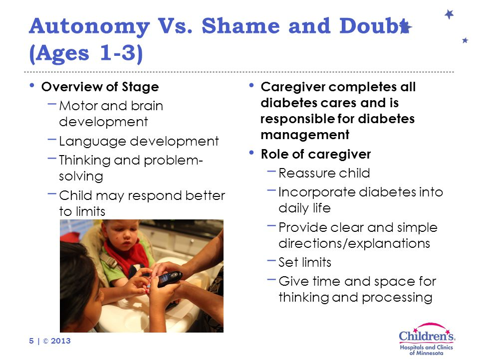 5 | © 2013 Autonomy Vs. Shame and Doubt (Ages 1-3) Overview of Stage − Motor and brain development − Language development − Thinking and problem- solv