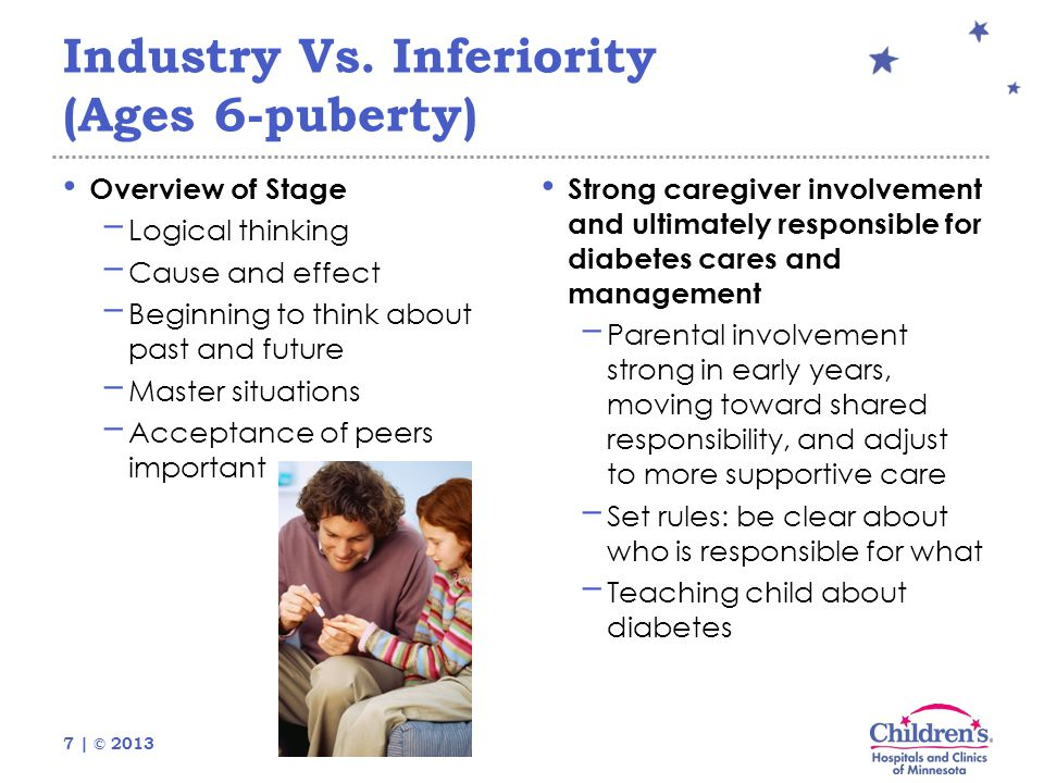 7 | © 2013 Industry Vs. Inferiority (Ages 6-puberty) Overview of Stage − Logical thinking − Cause and effect − Beginning to think about past and futur