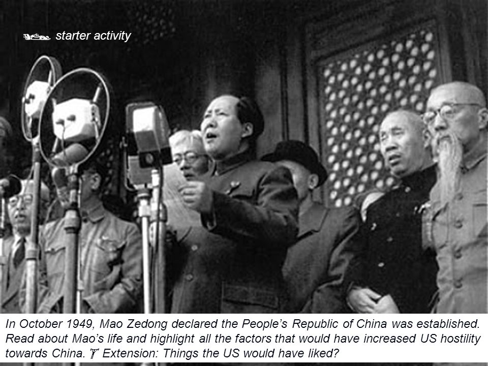  starter activity In October 1949, Mao Zedong declared the People's Republic of China was established. Read about Mao's life and highlight all the fa