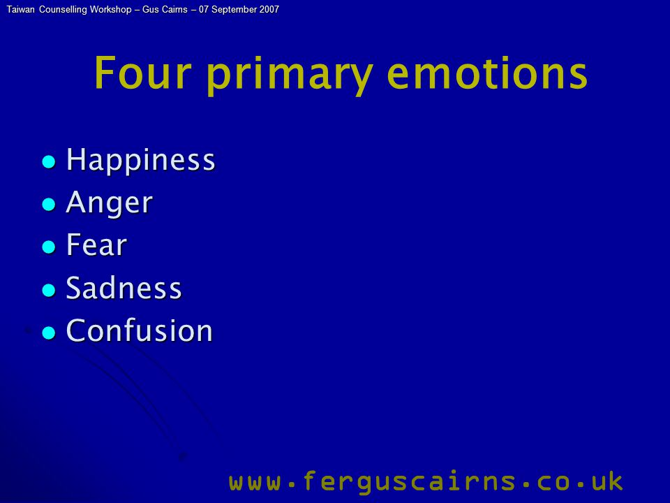 Taiwan Counselling Workshop – Gus Cairns – 07 September 2007 www.ferguscairns.co.uk Four primary emotions Happiness Happiness Anger Anger Fear Fear Sadness Sadness Confusion Confusion