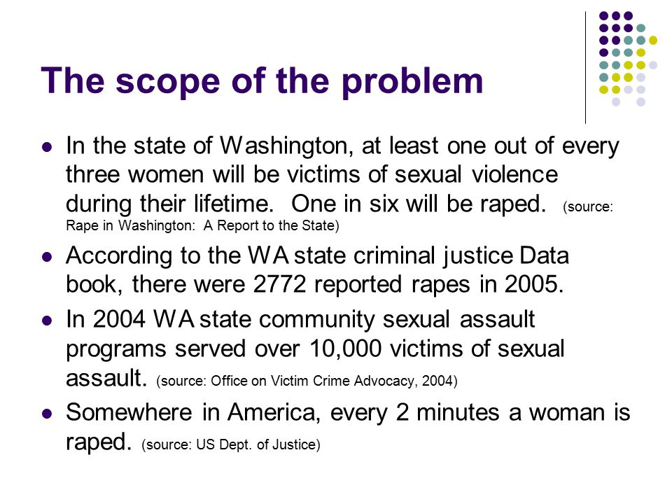 The scope of the problem More than half of all rapes of women occur before age 18; 22% of these occur before age 12.