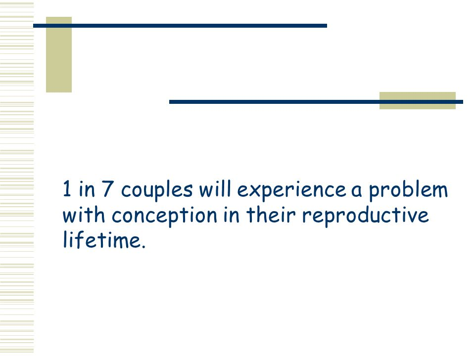 1 in 7 couples will experience a problem with conception in their reproductive lifetime.