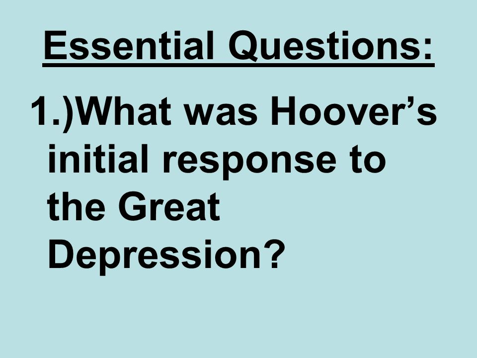 Hoover's Failure with the Depression