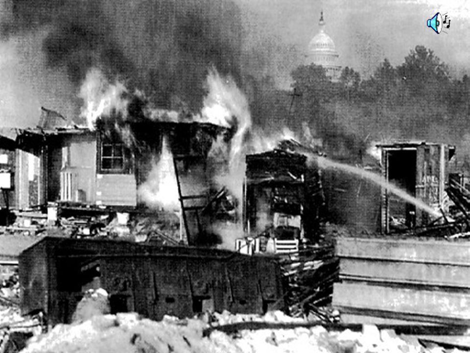 Violence in DC 1,000 soldiers under MacArthur and Eisenhower are called out. 1,000 people gassed Two people shot, one blinded Camp was burned down