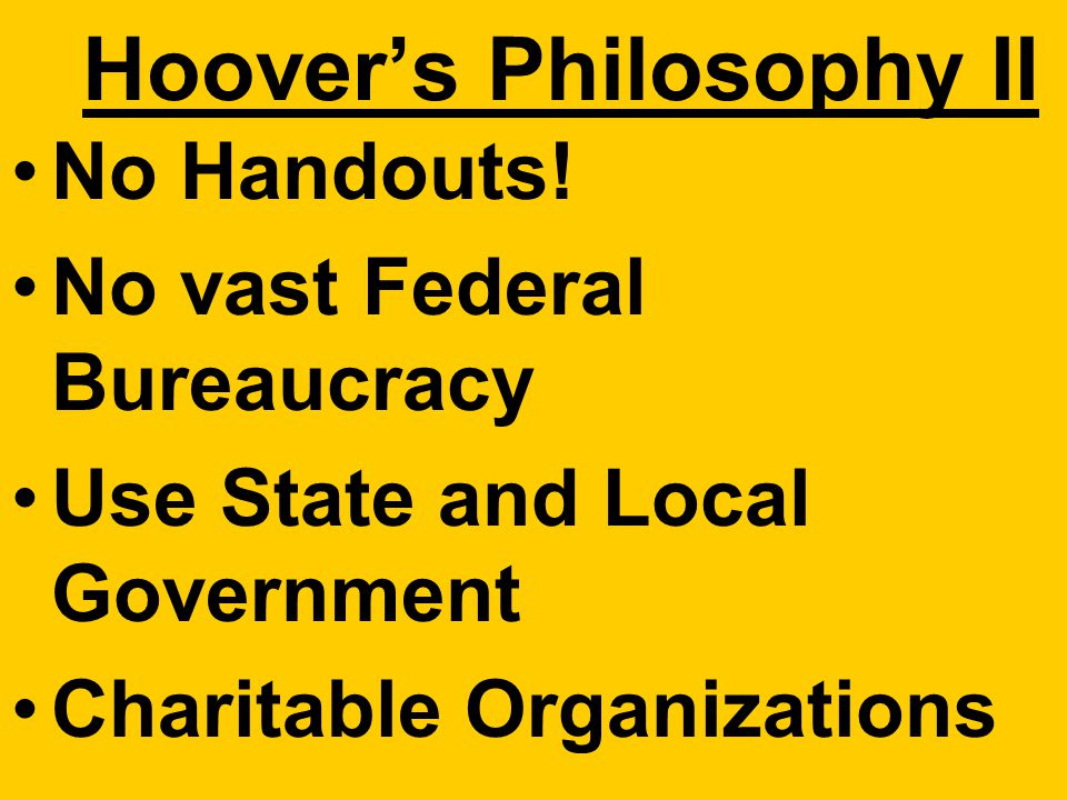 "Hoover Philosophy: Power of Reason Humanitarian Gov. should facilitate not control ""Rugged Individualism"""