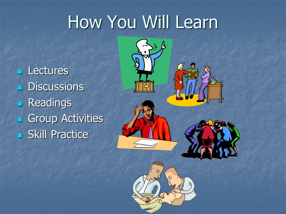 How You Will Learn Lectures Lectures Discussions Discussions Readings Readings Group Activities Group Activities Skill Practice Skill Practice