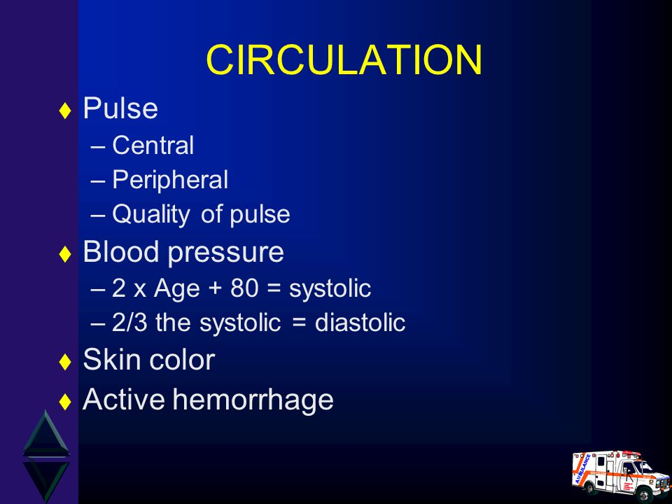 CIRCULATION t Pulse –Central –Peripheral –Quality of pulse t Blood pressure –2 x Age + 80 = systolic –2/3 the systolic = diastolic t Skin color t Active hemorrhage