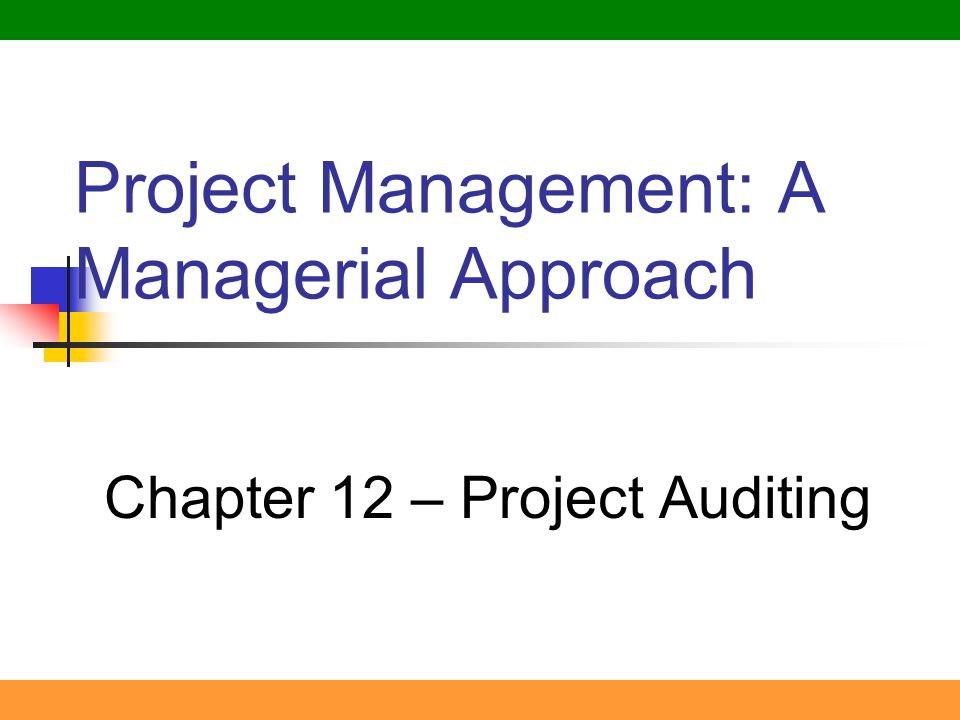 1 Project Management: A Managerial Approach Chapter 12 – Project Auditing