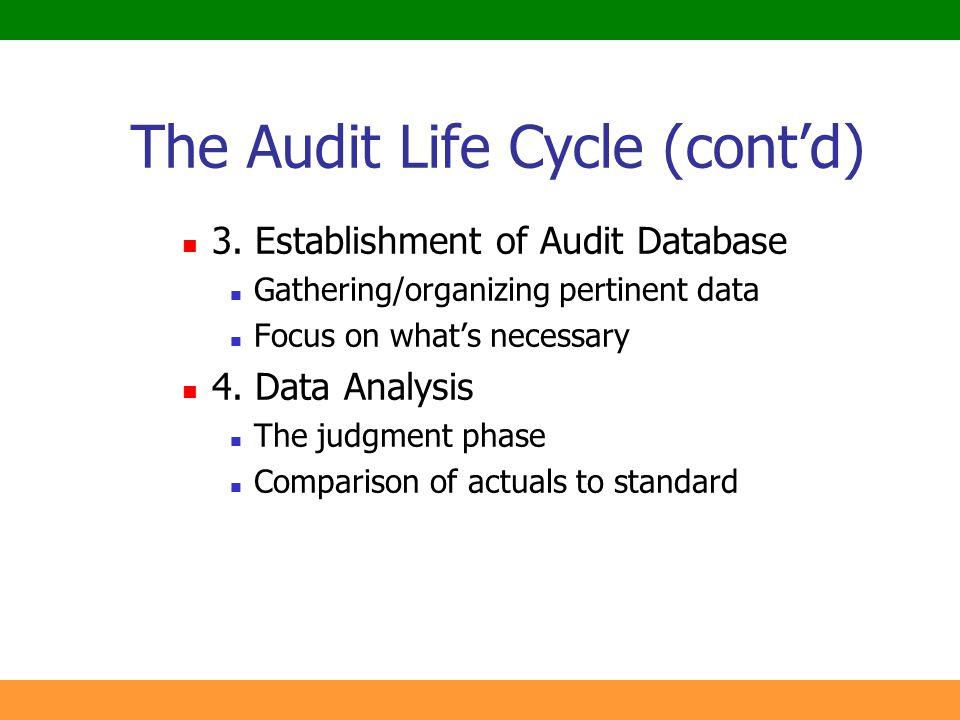17 The Audit Life Cycle (cont'd) 3. Establishment of Audit Database Gathering/organizing pertinent data Focus on what's necessary 4. Data Analysis The
