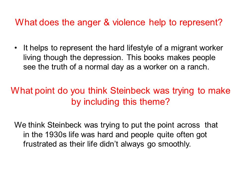 What does the anger & violence help to represent.
