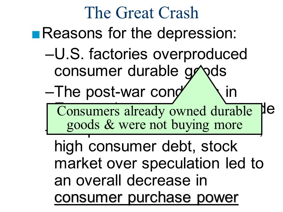 The Great Crash ■Reasons for the depression: –U.S.