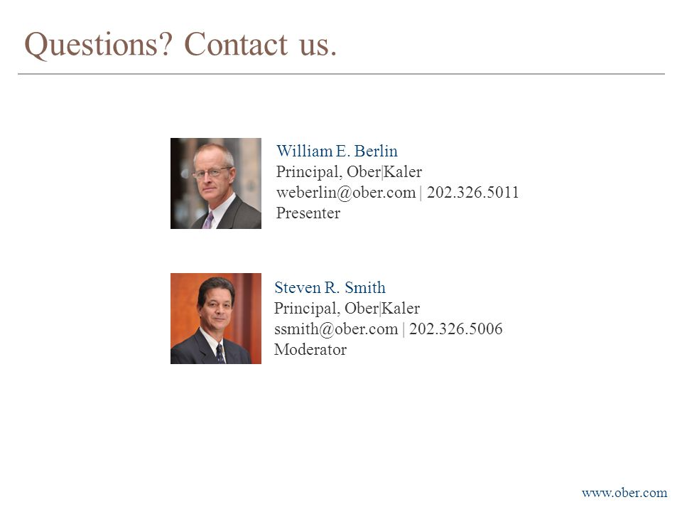 www.ober.com Questions. Contact us. William E.