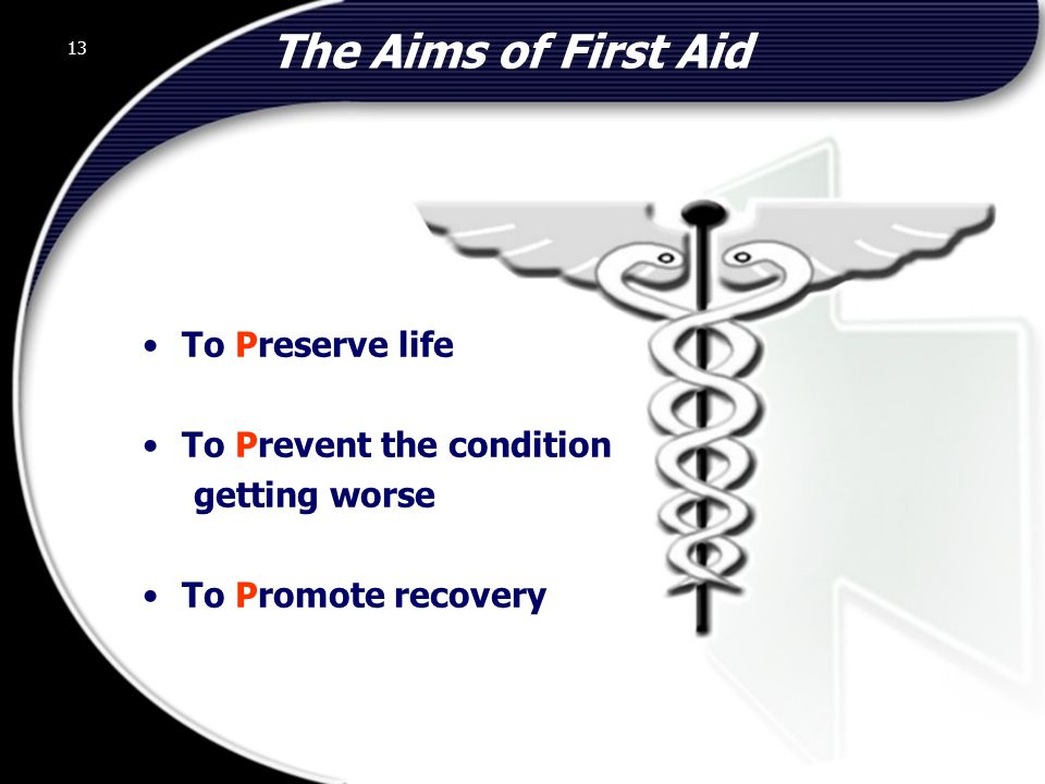 13 The Aims of First Aid To Preserve life To Prevent the condition getting worse To Promote recovery 13 © 2002 Abertay Nationwide Training