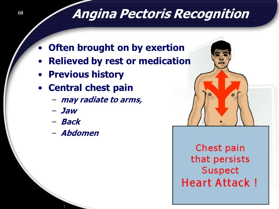 68 Angina Pectoris Recognition Often brought on by exertion Relieved by rest or medication Previous history Central chest pain –may radiate to arms, –Jaw –Back –Abdomen 68 © 2002 Abertay Nationwide Training