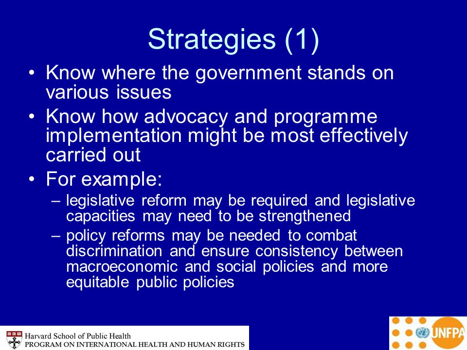 Strategies (1) Know where the government stands on various issues Know how advocacy and programme implementation might be most effectively carried out For example: –legislative reform may be required and legislative capacities may need to be strengthened –policy reforms may be needed to combat discrimination and ensure consistency between macroeconomic and social policies and more equitable public policies